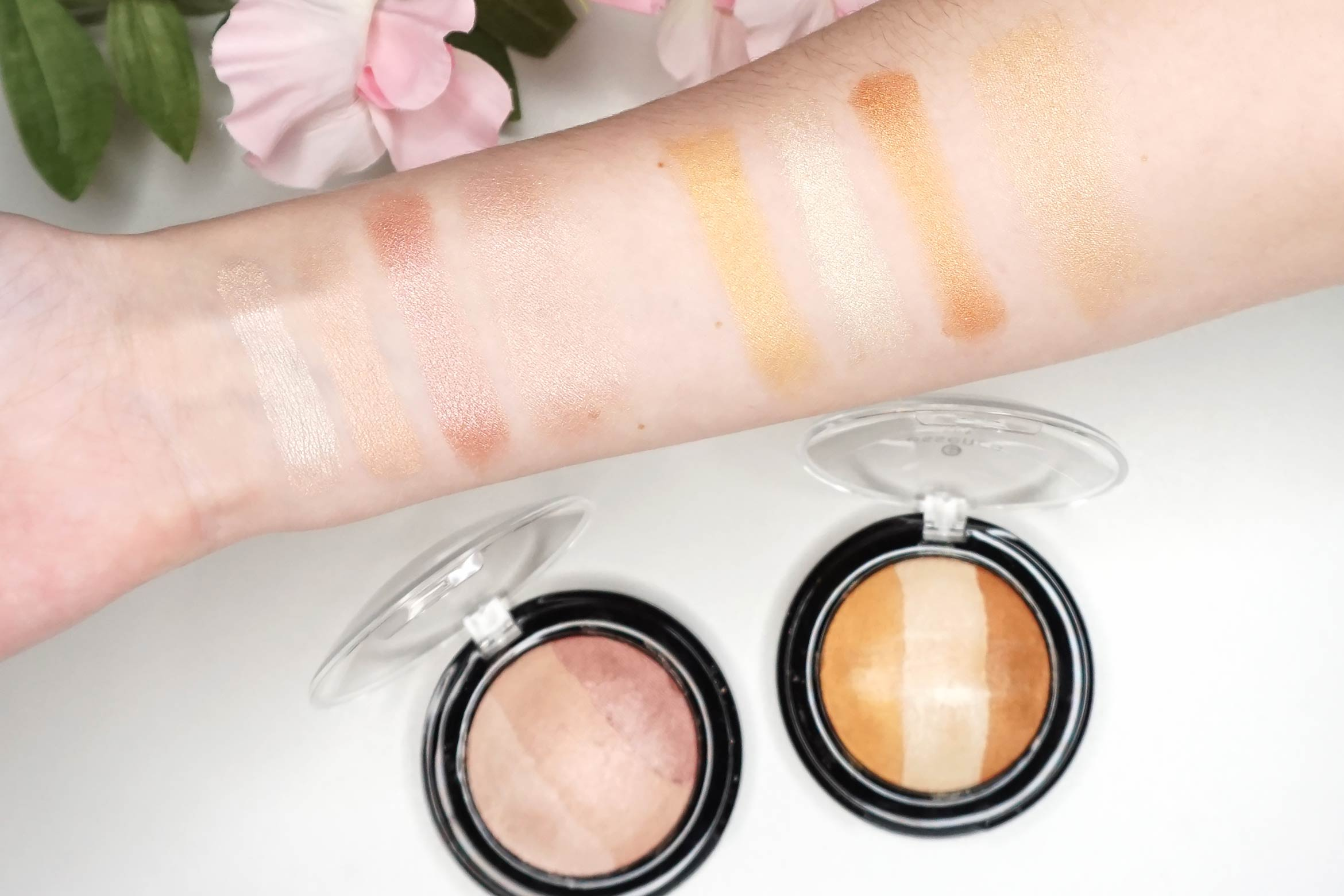 essence-sun-sand-golden-rainbows-baked-muli-colour-highlighter-swatches-review