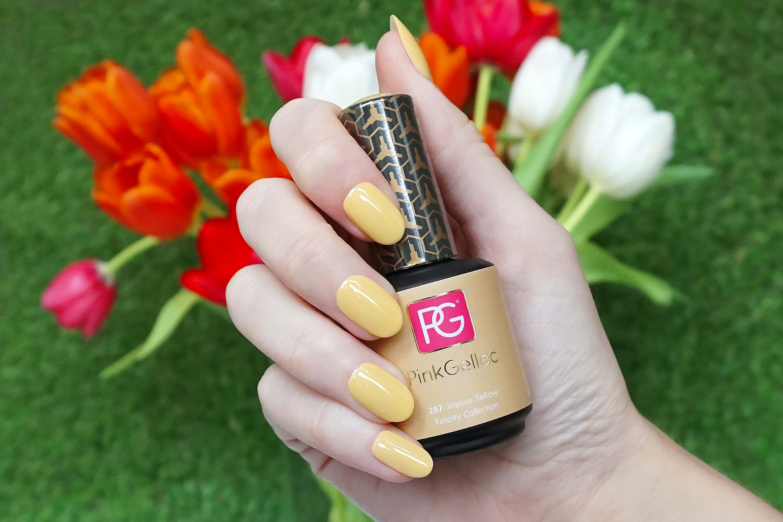 pink gellac 287 joyous yellow swatch