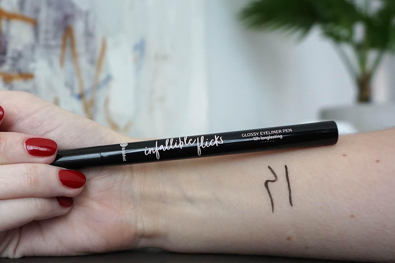 kruidvat infallible flicks glossy eyeliner pen swatch review
