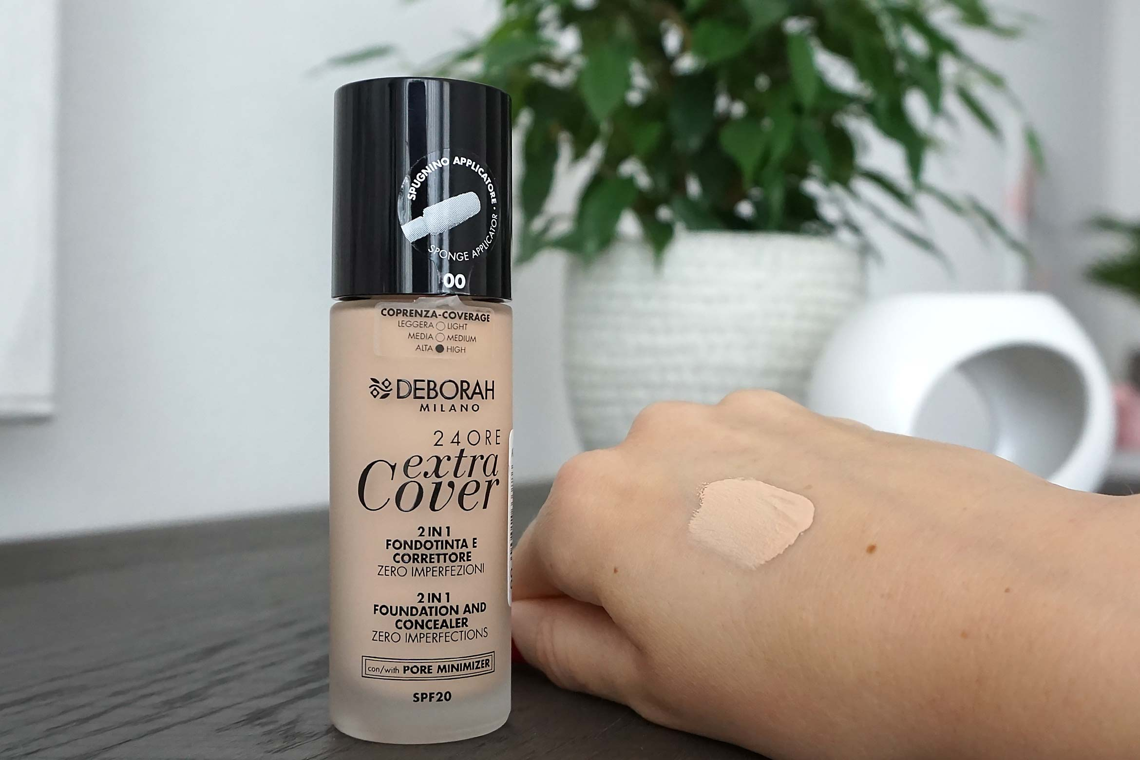 deborah milano 24ore extra cover foundation swatch 00 ivory review