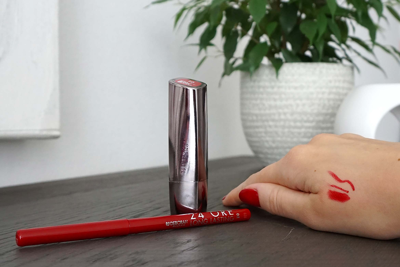 deborah milano 24ore longlasting contourpotlood swatch 2 vivid red review