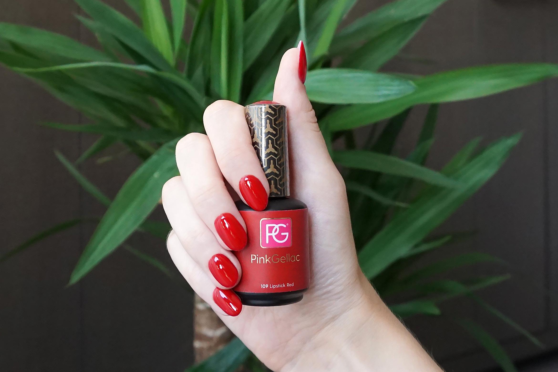 pink gellac 109 lipstick red swatch