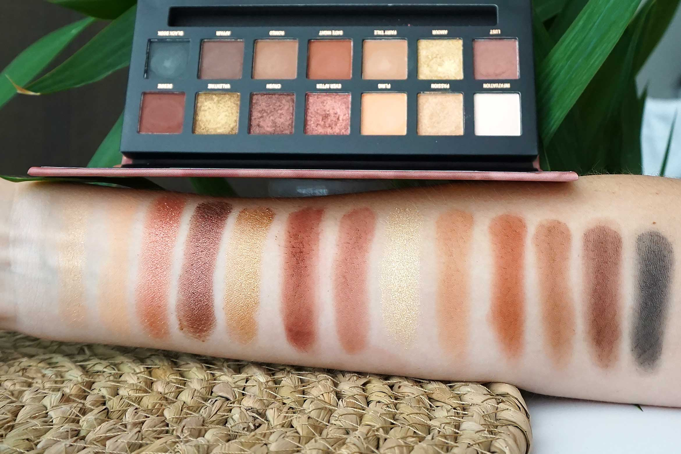 w7 romanced eyeshadow palette swatch review