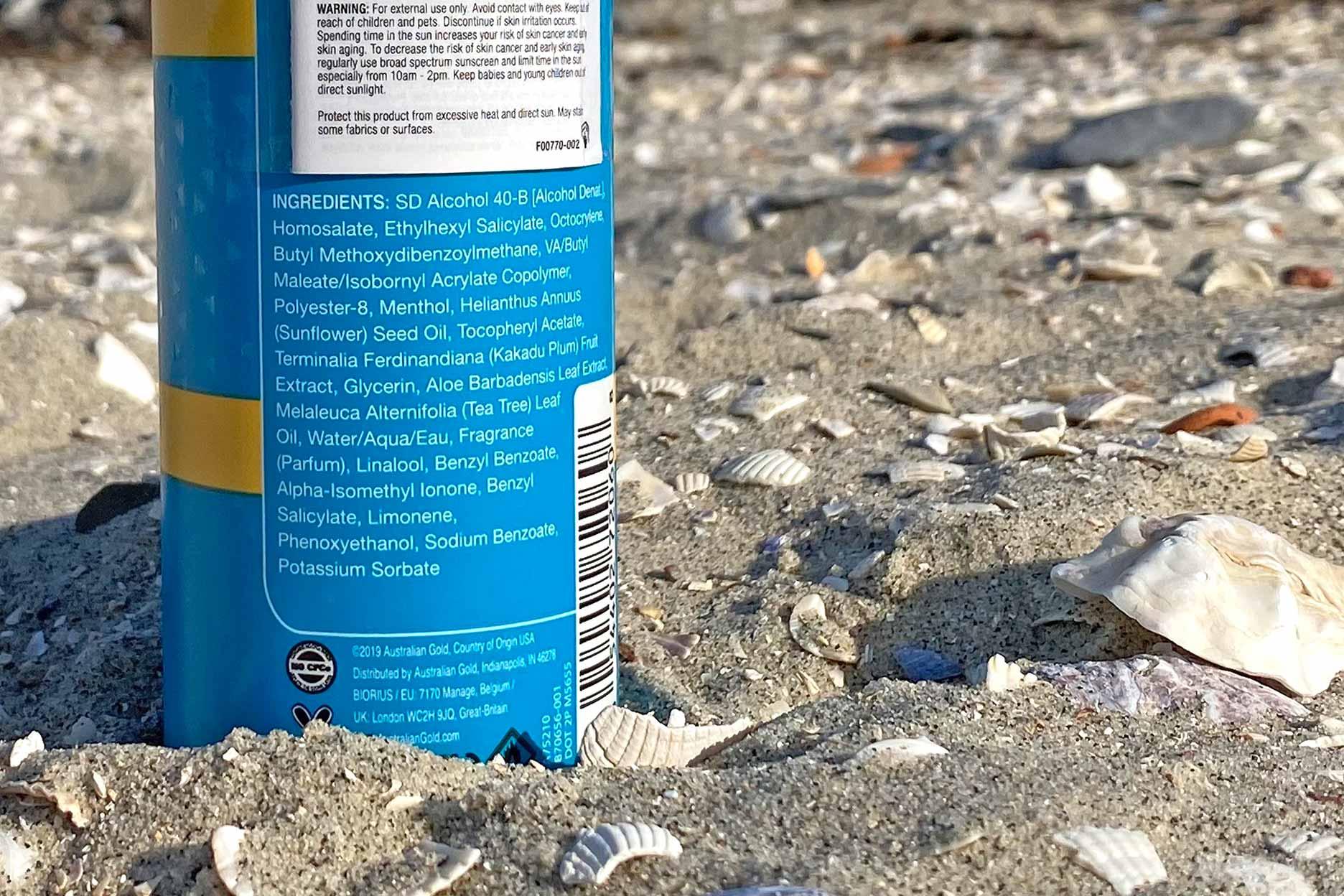 australian gold spf 30 active chill spray ingredienten review