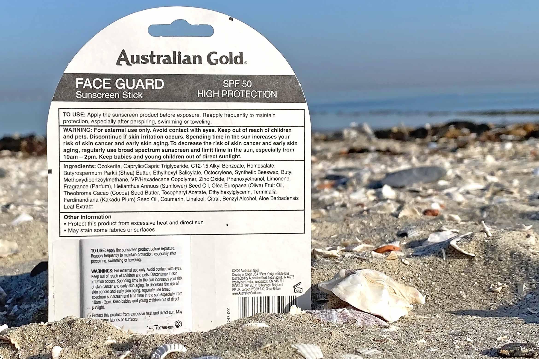 australian gold spf 50 face guard stick ingredienten review