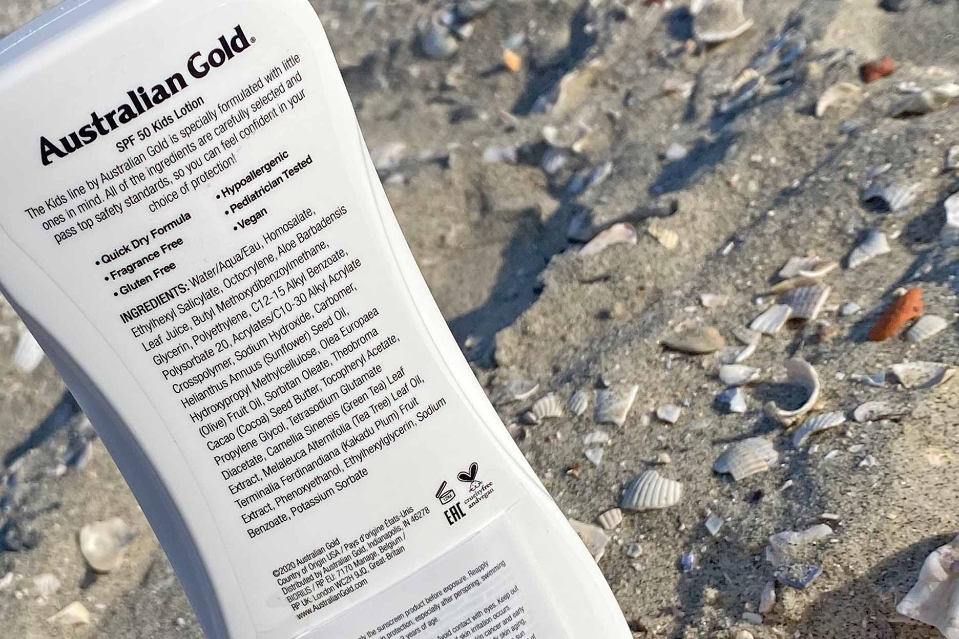 australian gold spf 50 kids lotion sensitive protection ingredienten review