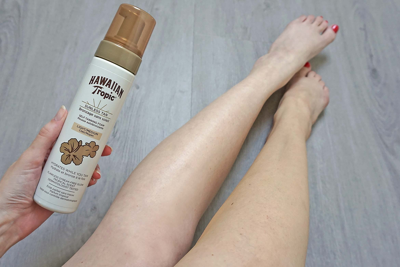 hawaiian tropic sunless tan self-tanning foam review-result-effect