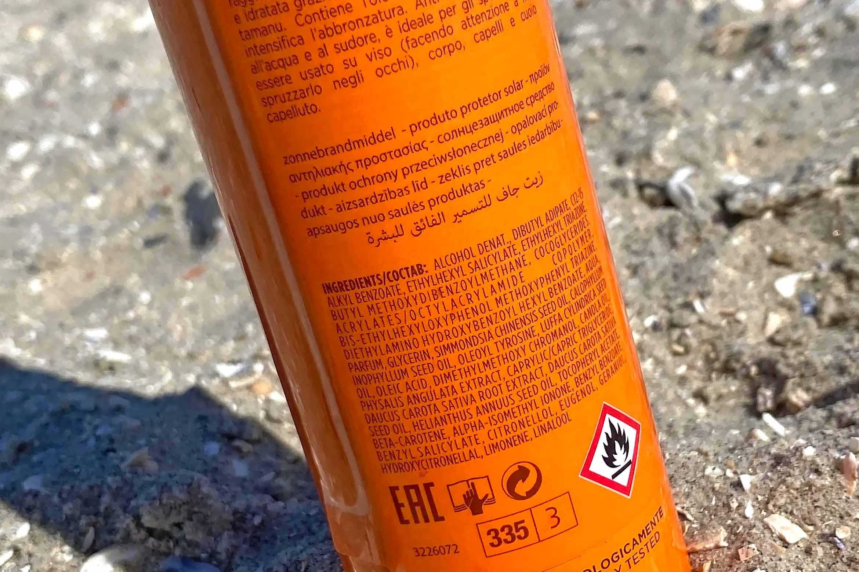 collistar moisturizing tanning spray review spf 30 ingredienten