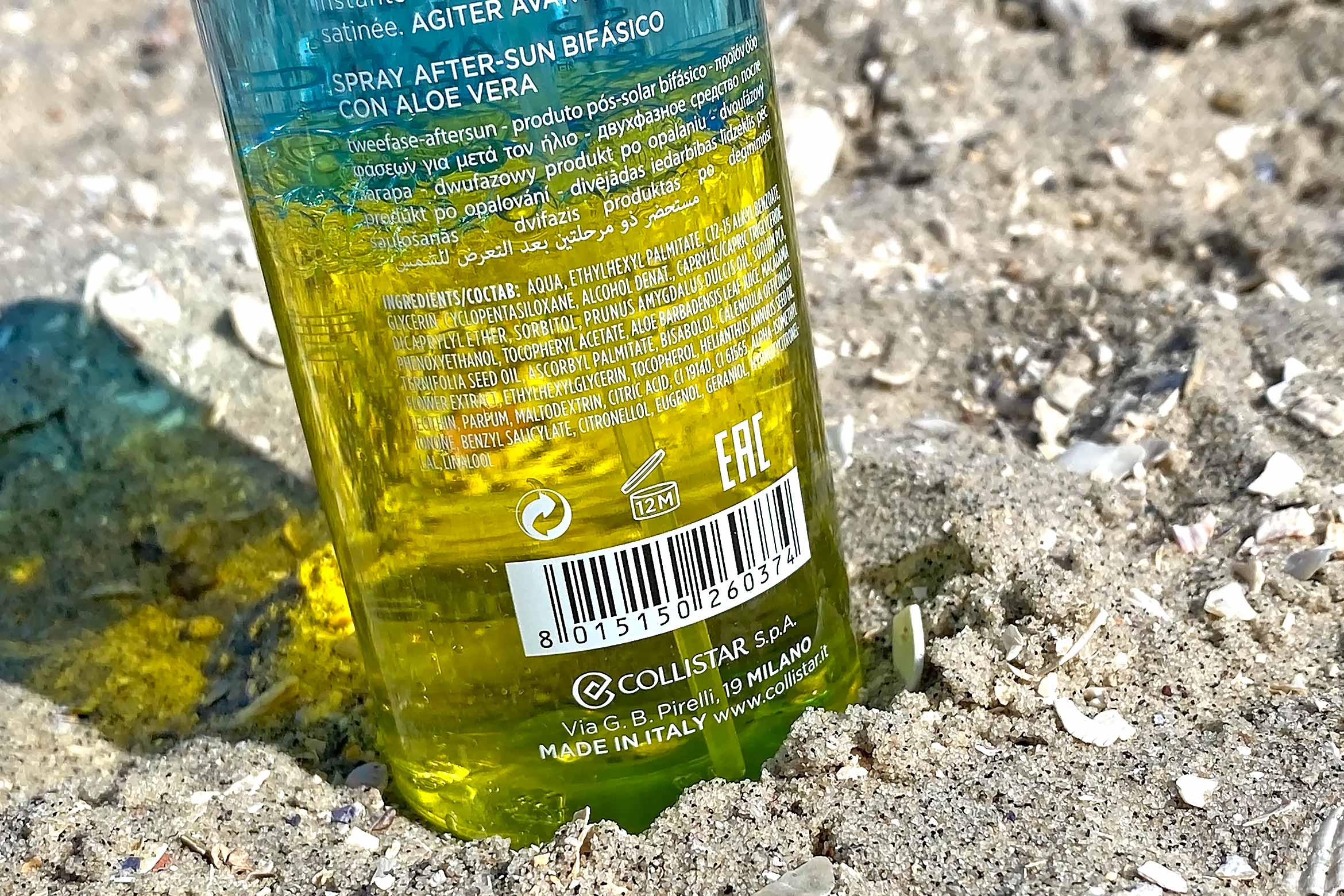 collistar two-phase after sun spray with aloe review ingredienten