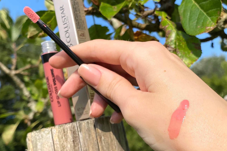 collistar lip gloss volume swatch 160 dusty rose