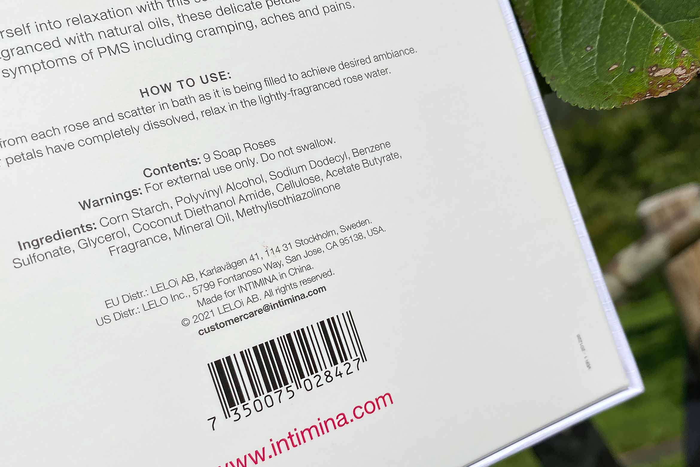 intimina soothing bath petals ingredienten ingredients
