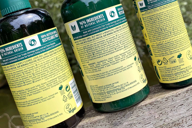the body shop moringa shine protection shampoo conditioner ingredienten