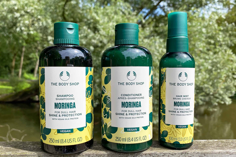 the body shop moringa shine protection shampoo conditioner