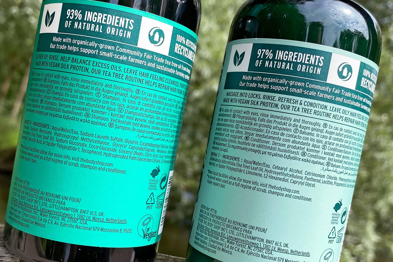 the body shop tea tree purifying balancing shampoo conditioner ingredienten