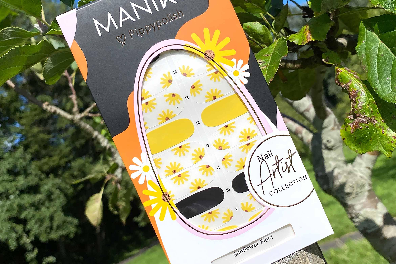 Maniko Pippypolish sunflower field strips swatch